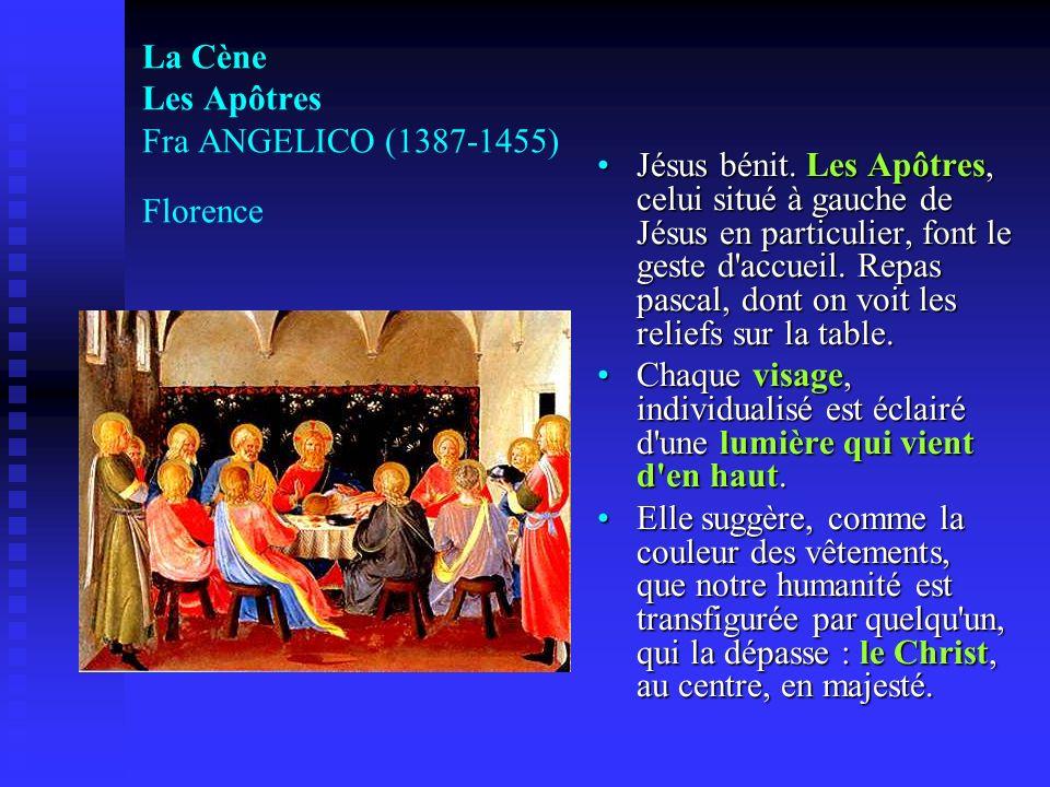 La Cène Les Apôtres Fra ANGELICO (1387-1455) Florence Jésus bénit. Les Apôtres, celui situé à gauche de Jésus en particulier, font le geste d'accueil.