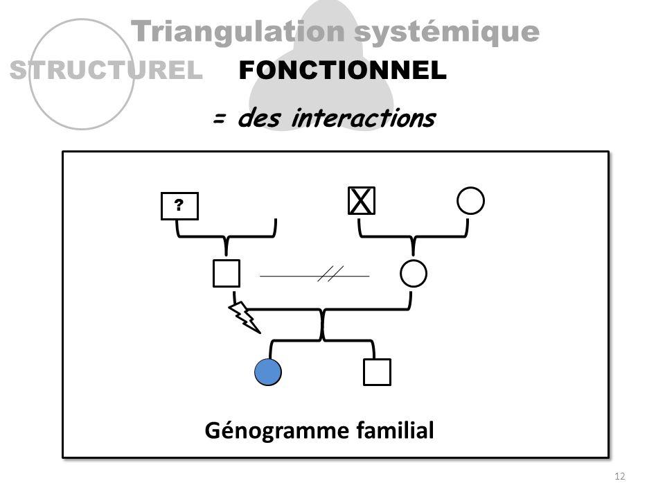 Maladie Triangulation systémique STRUCTURELFONCTIONNEL « Bio » « Psycho» « Social» Maladie = des interactions ? X Génogramme familial 12