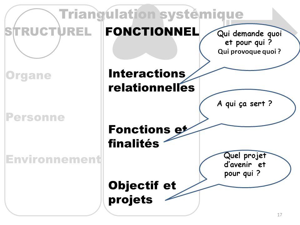 FONCTIONNEL Triangulation systémique STRUCTUREL Interactions relationnelles Fonctions et finalités Objectif et projets Organe Personne Environnement Q