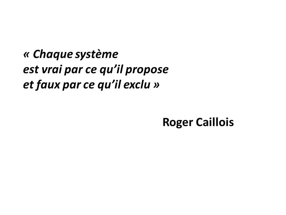 « Chaque système est vrai par ce quil propose et faux par ce quil exclu » Roger Caillois