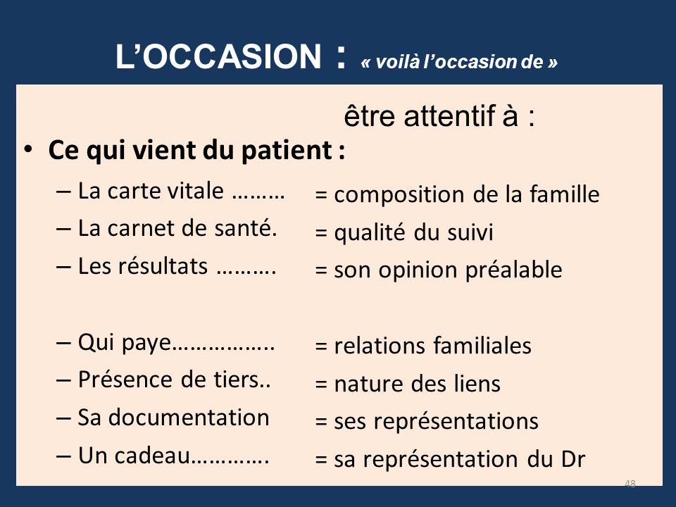 LOCCASION : « voilà loccasion de » Ce qui vient du patient : – La carte vitale ……… – La carnet de santé. – Les résultats ………. – Qui paye…………….. – Prés