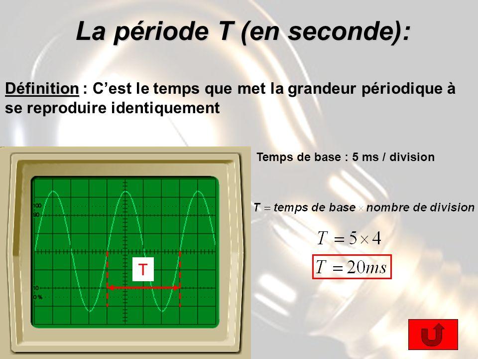 La période T (en seconde): La période T (en seconde): Définition Définition : Cest le temps que met la grandeur périodique à se reproduire identiquement T Temps de base : 5 ms / division