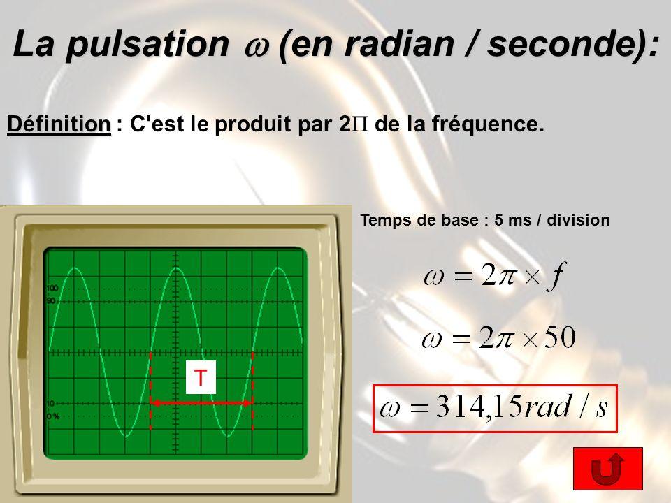 La pulsation (en radian / seconde): Définition Définition : C est le produit par 2 de la fréquence.