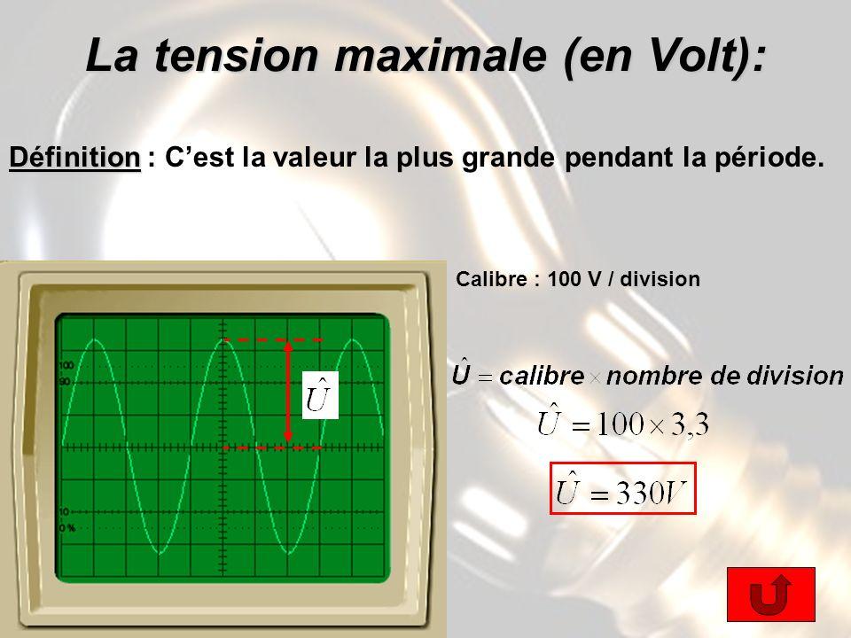 La tension maximale (en Volt): Définition Définition : Cest la valeur la plus grande pendant la période.