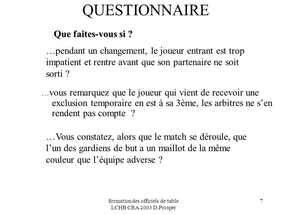 formation des officiels de table LCHB CRA 2003 D.Prosper 7 QUESTIONNAIRE Que faites-vous si ? …pendant un changement, le joueur entrant est trop impat