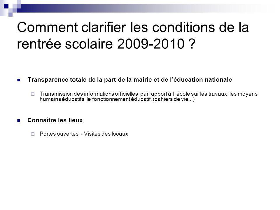 Comment clarifier les conditions de la rentrée scolaire 2009-2010 .