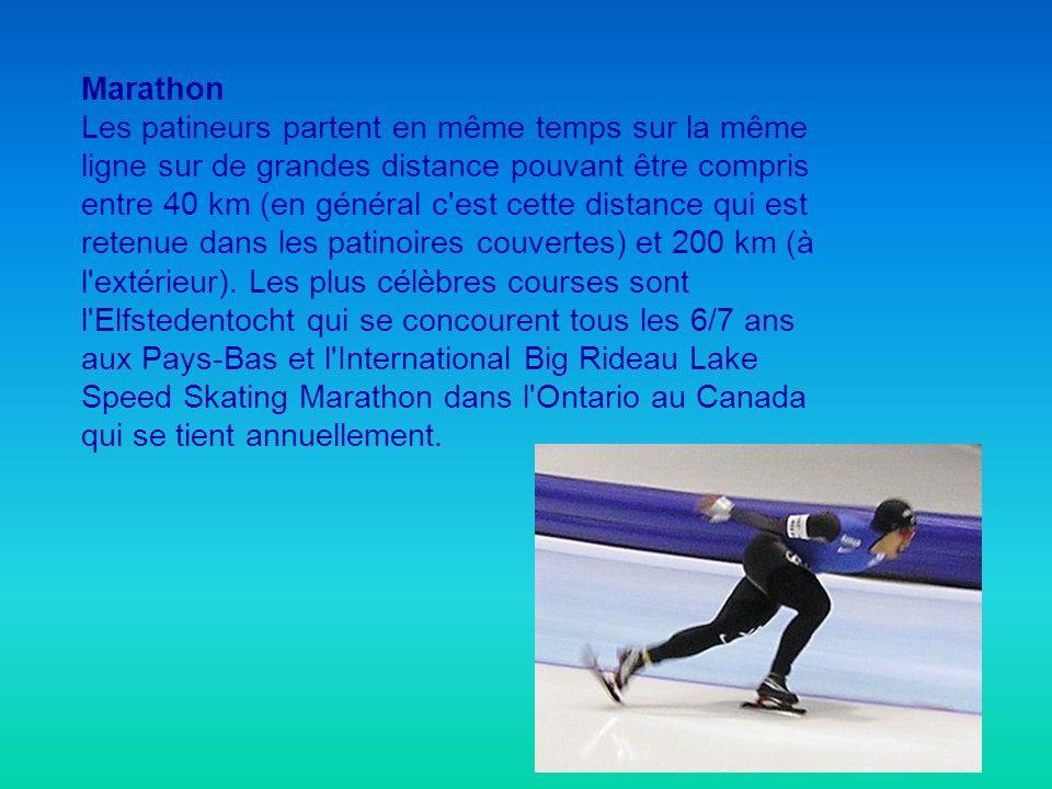 Marathon Les patineurs partent en même temps sur la même ligne sur de grandes distance pouvant être compris entre 40 km (en général c'est cette distan
