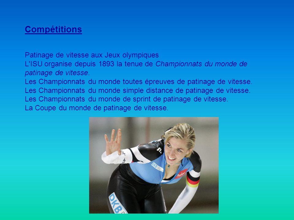 Compétitions Patinage de vitesse aux Jeux olympiques L'ISU organise depuis 1893 la tenue de Championnats du monde de patinage de vitesse. Les Champion
