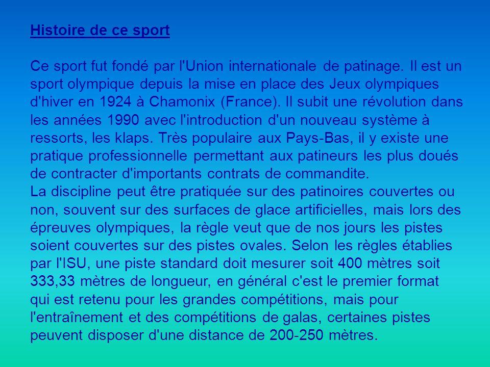 Histoire de ce sport Ce sport fut fondé par l'Union internationale de patinage. Il est un sport olympique depuis la mise en place des Jeux olympiques