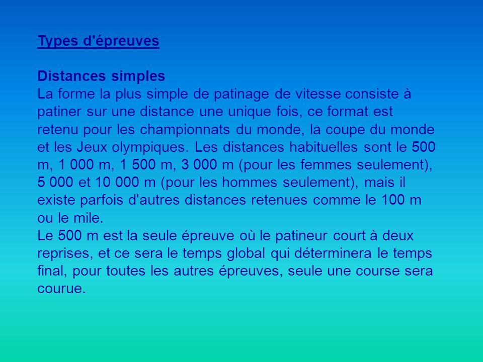 Types d'épreuves Distances simples La forme la plus simple de patinage de vitesse consiste à patiner sur une distance une unique fois, ce format est r
