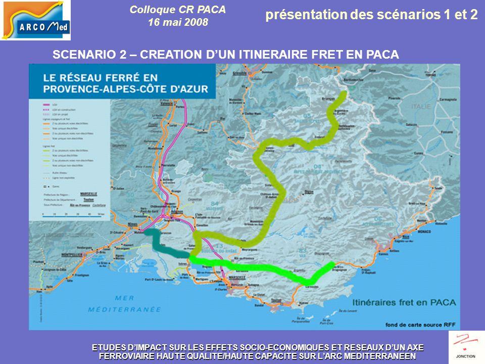 ETUDES DIMPACT SUR LES EFFETS SOCIO-ECONOMIQUES ET RESEAUX DUN AXE FERROVIAIRE HAUTE QUALITE/HAUTE CAPACITE SUR LARC MEDITERRANEEN SCENARIO 2 – CREATION DUN ITINERAIRE FRET EN PACA Colloque CR PACA 16 mai 2008 présentation des scénarios 1 et 2