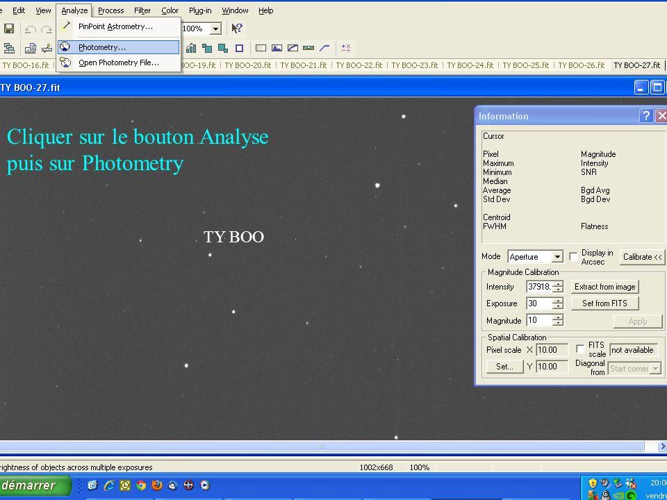 TY BOO Cliquer sur le bouton Analyse puis sur Photometry