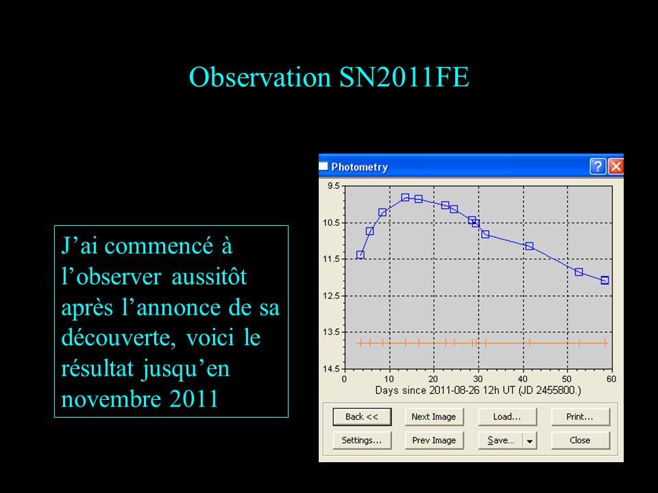 Observation SN2011FE Jai commencé à lobserver aussitôt après lannonce de sa découverte, voici le résultat jusquen novembre 2011