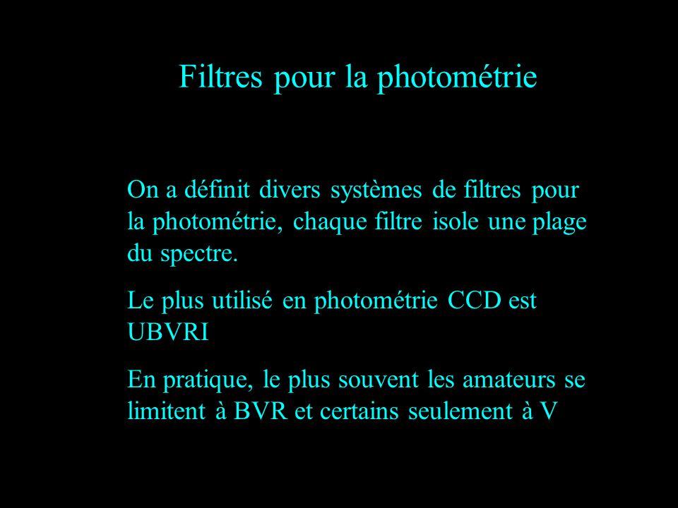 On a définit divers systèmes de filtres pour la photométrie, chaque filtre isole une plage du spectre. Le plus utilisé en photométrie CCD est UBVRI En