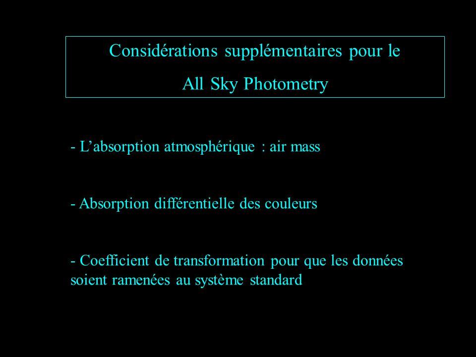 Considérations supplémentaires pour le All Sky Photometry - Labsorption atmosphérique : air mass - Absorption différentielle des couleurs - Coefficient de transformation pour que les données soient ramenées au système standard