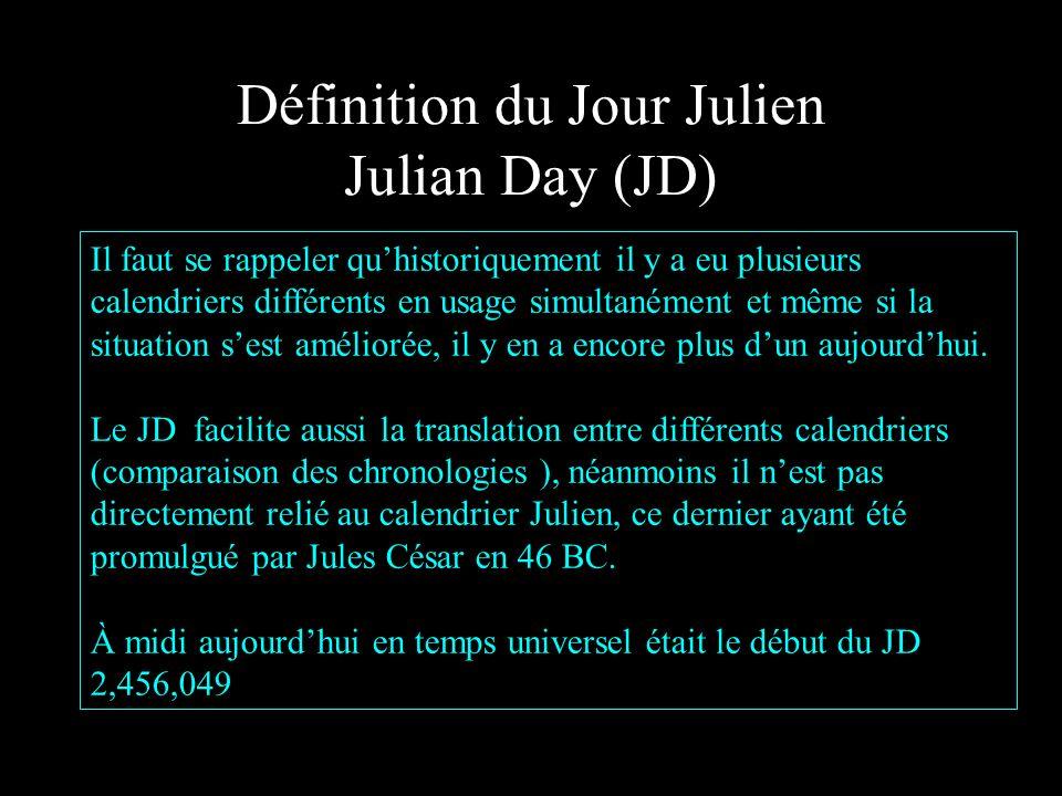 Définition du Jour Julien Julian Day (JD) Il faut se rappeler quhistoriquement il y a eu plusieurs calendriers différents en usage simultanément et même si la situation sest améliorée, il y en a encore plus dun aujourdhui.