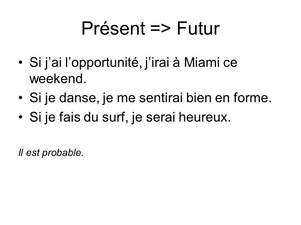 Présent => Futur Si jai lopportunité, jirai à Miami ce weekend. Si je danse, je me sentirai bien en forme. Si je fais du surf, je serai heureux. Il es