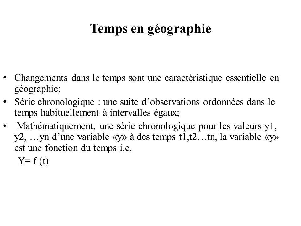 Temps en géographie Changements dans le temps sont une caractéristique essentielle en géographie; Série chronologique : une suite dobservations ordonnées dans le temps habituellement à intervalles égaux; Mathématiquement, une série chronologique pour les valeurs y1, y2, …yn dune variable «y» à des temps t1,t2…tn, la variable «y» est une fonction du temps i.e.