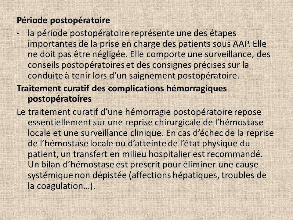 Période postopératoire -la période postopératoire représente une des étapes importantes de la prise en charge des patients sous AAP. Elle ne doit pas