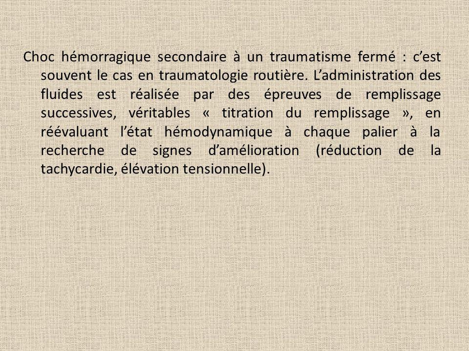 Choc hémorragique secondaire à un traumatisme fermé : cest souvent le cas en traumatologie routière. Ladministration des fluides est réalisée par des