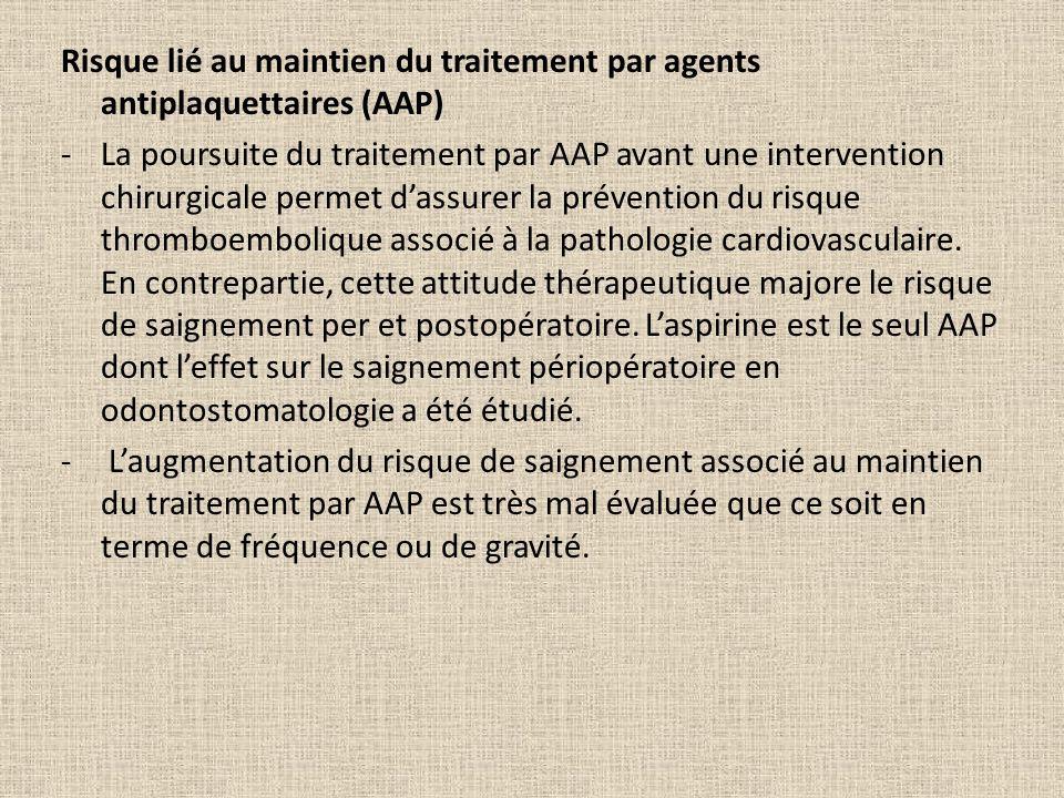 Risque lié au maintien du traitement par agents antiplaquettaires (AAP) -La poursuite du traitement par AAP avant une intervention chirurgicale permet