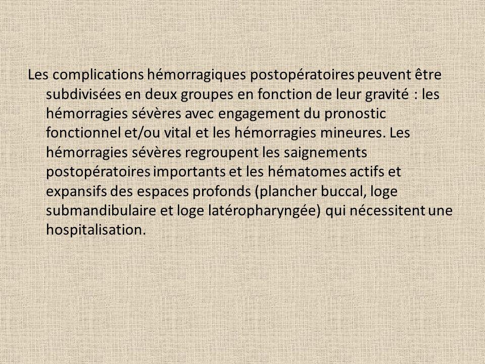 Les complications hémorragiques postopératoires peuvent être subdivisées en deux groupes en fonction de leur gravité : les hémorragies sévères avec en