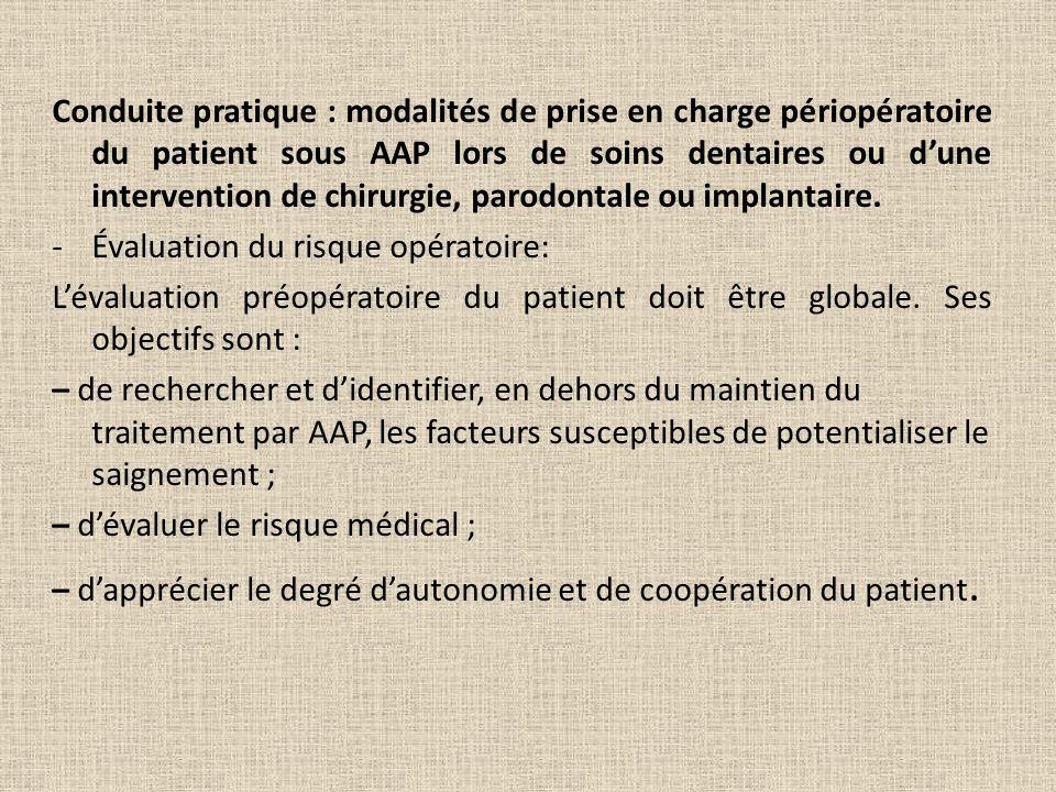 Conduite pratique : modalités de prise en charge périopératoire du patient sous AAP lors de soins dentaires ou dune intervention de chirurgie, parodon
