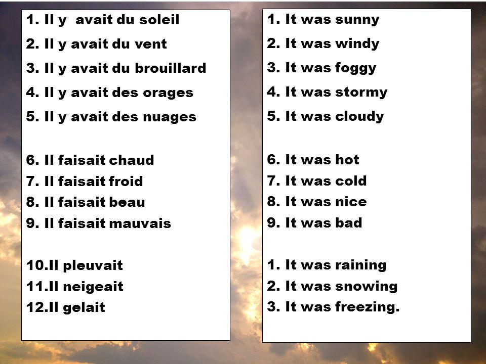 1.Il y avait du soleil 2.Il y avait du vent 3.Il y avait du brouillard 4.Il y avait des orages 5.Il y avait des nuages 6.Il faisait chaud 7.Il faisait froid 8.Il faisait beau 9.Il faisait mauvais 10.Il pleuvait 11.Il neigeait 12.Il gelait 1.It was sunny 2.It was windy 3.It was foggy 4.It was stormy 5.It was cloudy 6.It was hot 7.It was cold 8.It was nice 9.It was bad 1.It was raining 2.It was snowing 3.It was freezing.