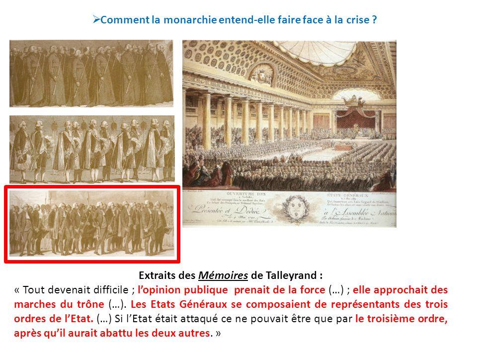 Comment la monarchie entend-elle faire face à la crise ? Extraits des Mémoires de Talleyrand : « Tout devenait difficile ; lopinion publique prenait d