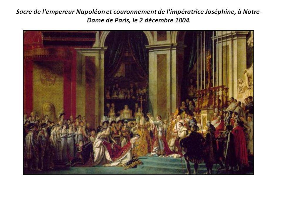 Sacre de l'empereur Napoléon et couronnement de l'impératrice Joséphine, à Notre- Dame de Paris, le 2 décembre 1804.