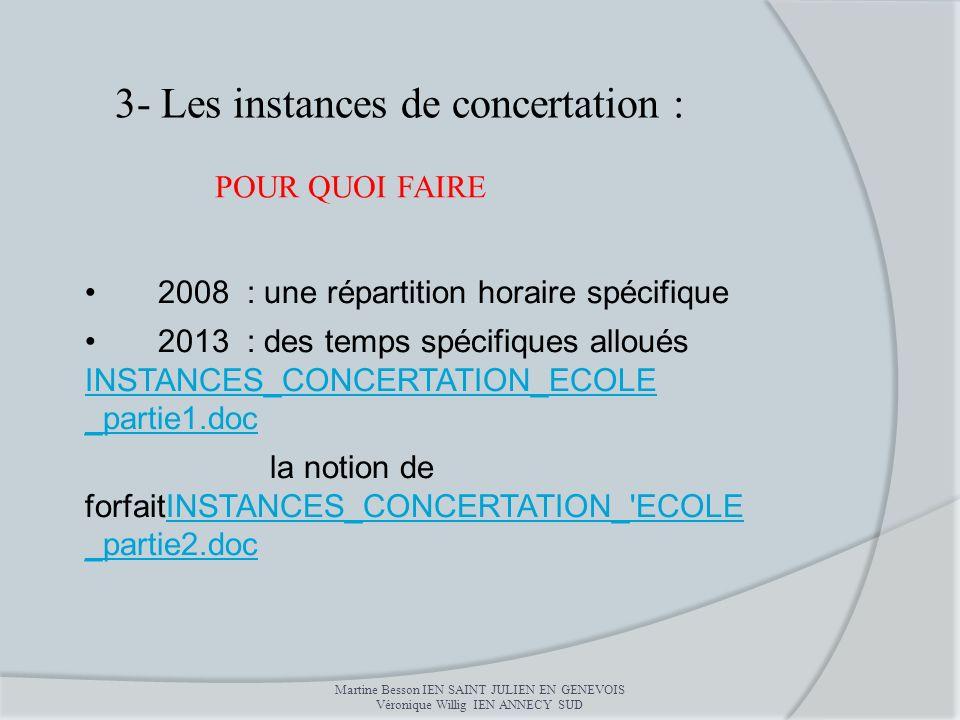 2008 : une répartition horaire spécifique 2013 : des temps spécifiques alloués INSTANCES_CONCERTATION_ECOLE _partie1.doc INSTANCES_CONCERTATION_ECOLE