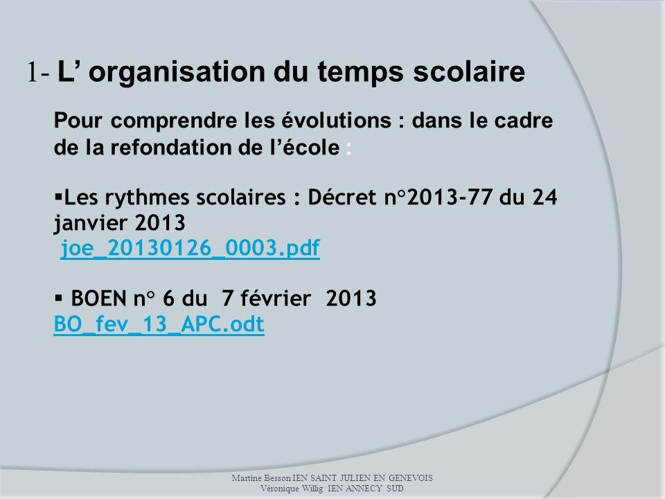 Pour comprendre les évolutions : dans le cadre de la refondation de lécole : Les rythmes scolaires : Décret n°2013-77 du 24 janvier 2013 joe_20130126_