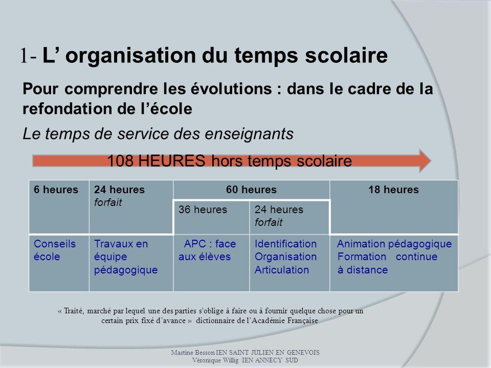 Pour comprendre les évolutions : dans le cadre de la refondation de lécole Le temps de service des enseignants 1- L organisation du temps scolaire Mar