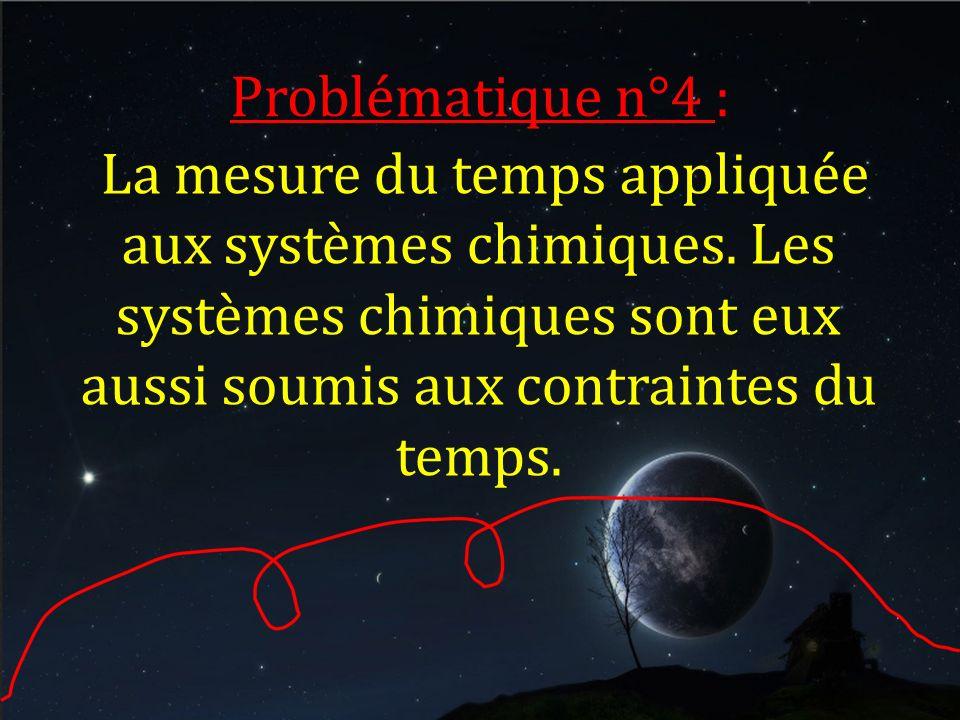 Problématique n°4 : La mesure du temps appliquée aux systèmes chimiques. Les systèmes chimiques sont eux aussi soumis aux contraintes du temps.