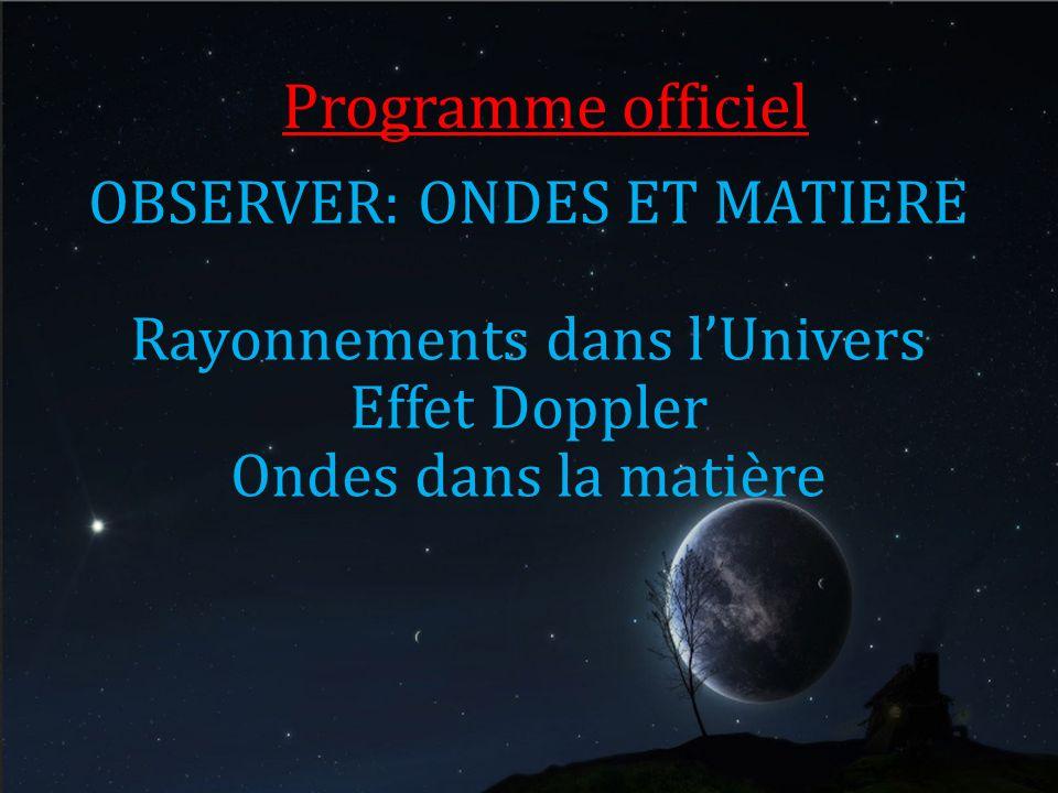 Programme officiel OBSERVER: ONDES ET MATIERE Rayonnements dans lUnivers Effet Doppler Ondes dans la matière