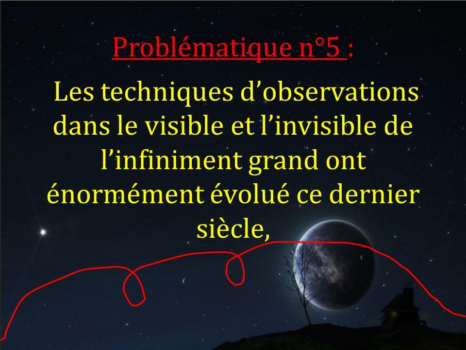 Problématique n°5 : Les techniques dobservations dans le visible et linvisible de linfiniment grand ont énormément évolué ce dernier siècle,