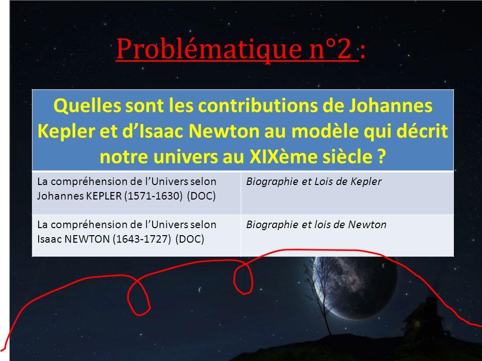 La compréhension de lUnivers selon Johannes KEPLER (1571-1630) (DOC) Biographie et Lois de Kepler La compréhension de lUnivers selon Isaac NEWTON (164