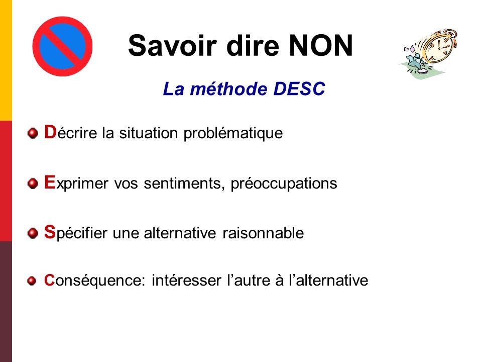 La méthode NERAC Les 5 étapes de la méthode: Noter toutes les activités et tâches à exécuter Estimer la durée de leur exécution Réserver du temps pour