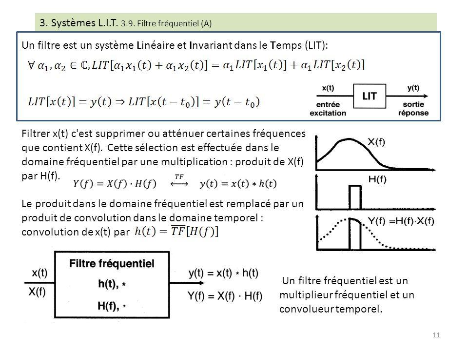 3. Systèmes L.I.T. 3.9. Filtre fréquentiel (A) Un filtre est un système Linéaire et Invariant dans le Temps (LIT): Filtrer x(t) c'est supprimer ou att