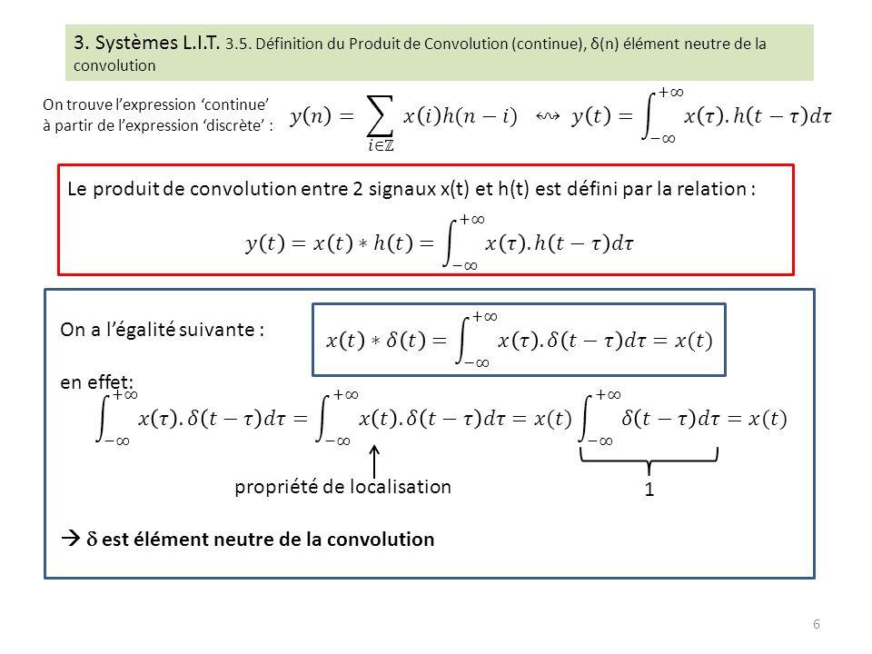 On a légalité suivante : en effet: propriété de localisation est élément neutre de la convolution 1 3. Systèmes L.I.T. 3.5. Définition du Produit de C