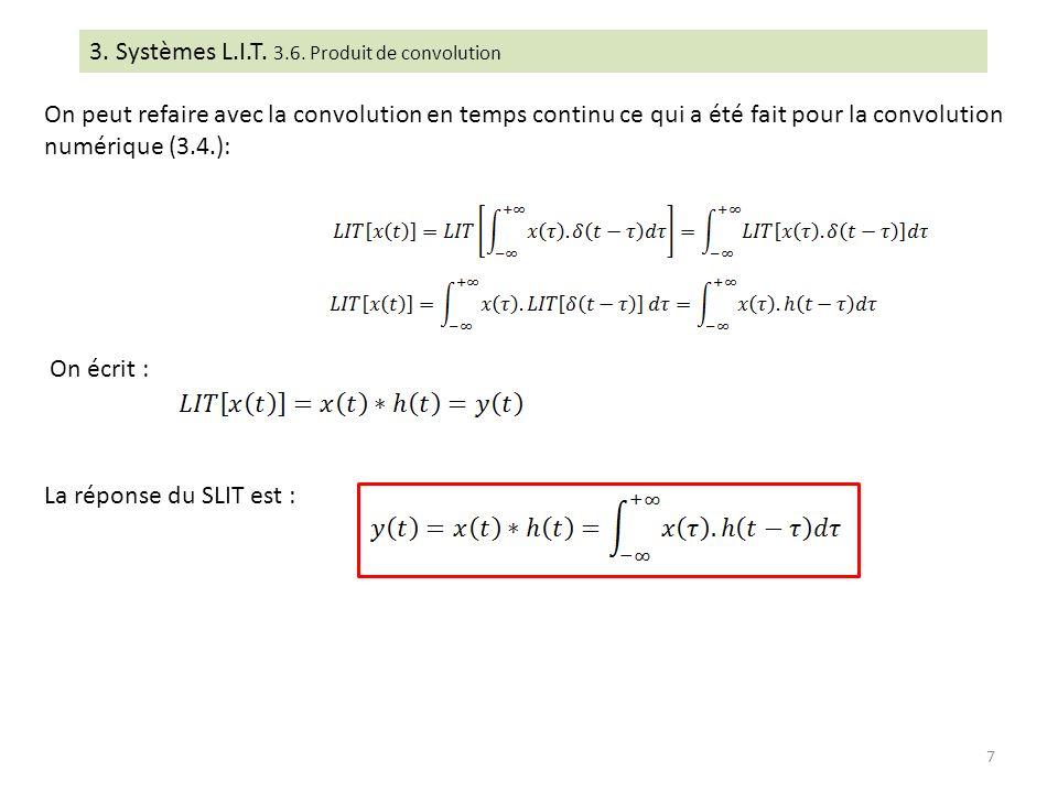 3. Systèmes L.I.T. 3.6. Produit de convolution On peut refaire avec la convolution en temps continu ce qui a été fait pour la convolution numérique (3