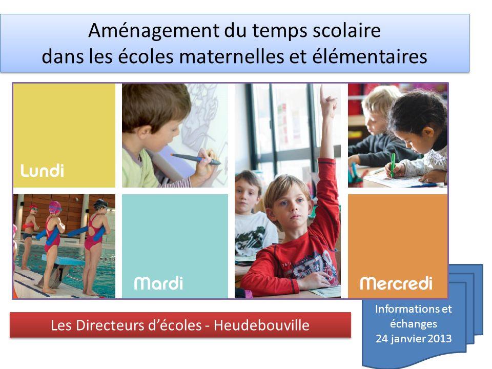 Informations et échanges 24 janvier 2013 Aménagement du temps scolaire dans les écoles maternelles et élémentaires Aménagement du temps scolaire dans