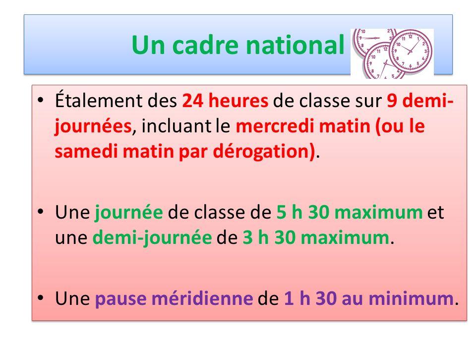 Un cadre national Étalement des 24 heures de classe sur 9 demi- journées, incluant le mercredi matin (ou le samedi matin par dérogation). Une journée