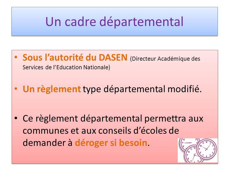 Un cadre départemental Sous lautorité du DASEN (Directeur Académique des Services de lEducation Nationale) Un règlement type départemental modifié. Ce