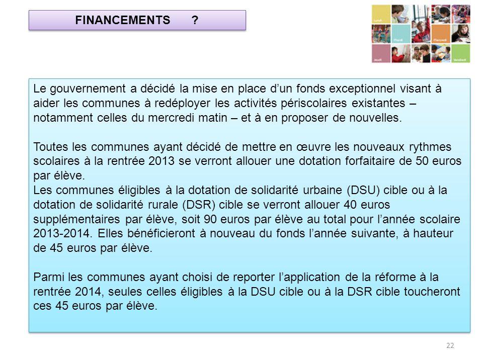 FINANCEMENTS ? 22 Le gouvernement a décidé la mise en place dun fonds exceptionnel visant à aider les communes à redéployer les activités périscolaire