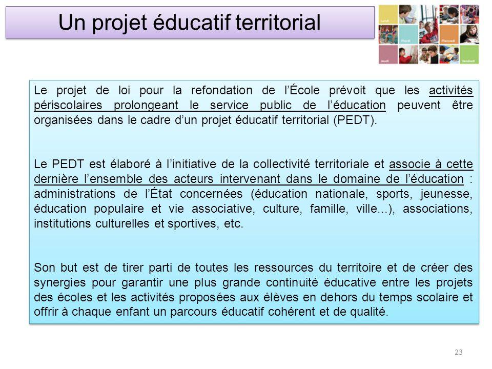 Un projet éducatif territorial 23 Le projet de loi pour la refondation de lÉcole prévoit que les activités périscolaires prolongeant le service public