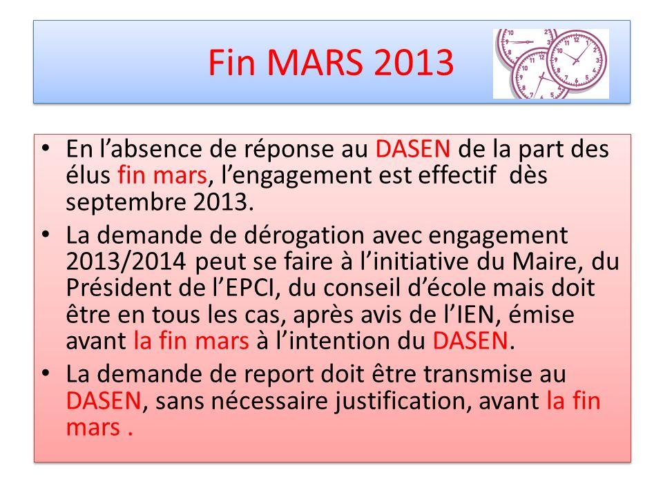 Fin MARS 2013 En labsence de réponse au DASEN de la part des élus fin mars, lengagement est effectif dès septembre 2013. La demande de dérogation avec