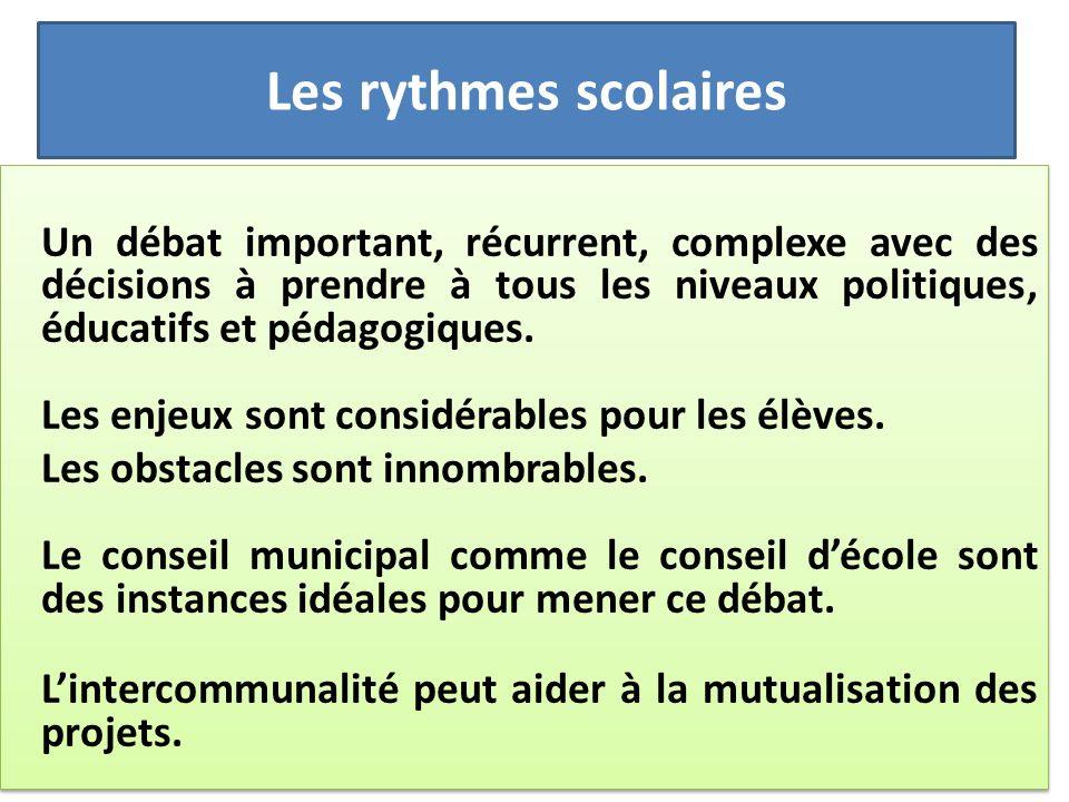 Les rythmes scolaires Un débat important, récurrent, complexe avec des décisions à prendre à tous les niveaux politiques, éducatifs et pédagogiques. L