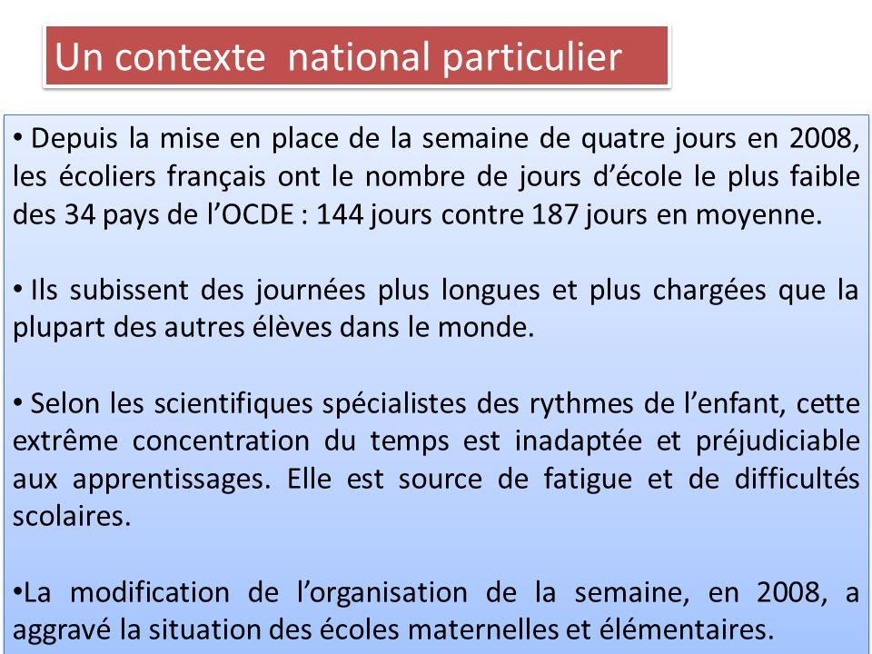 Depuis la mise en place de la semaine de quatre jours en 2008, les écoliers français ont le nombre de jours décole le plus faible des 34 pays de lOCDE