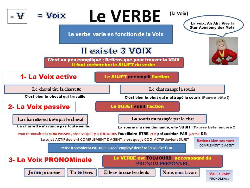 Le verbe varie en fonction de la Voix La voix, Ah Ah : Vive la Star Académy des Mots 1- La Voix active 2- La Voix passive Cest bien le cheval qui trav